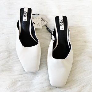 NEW Zara White Faux Leather Square Toe Low Heels